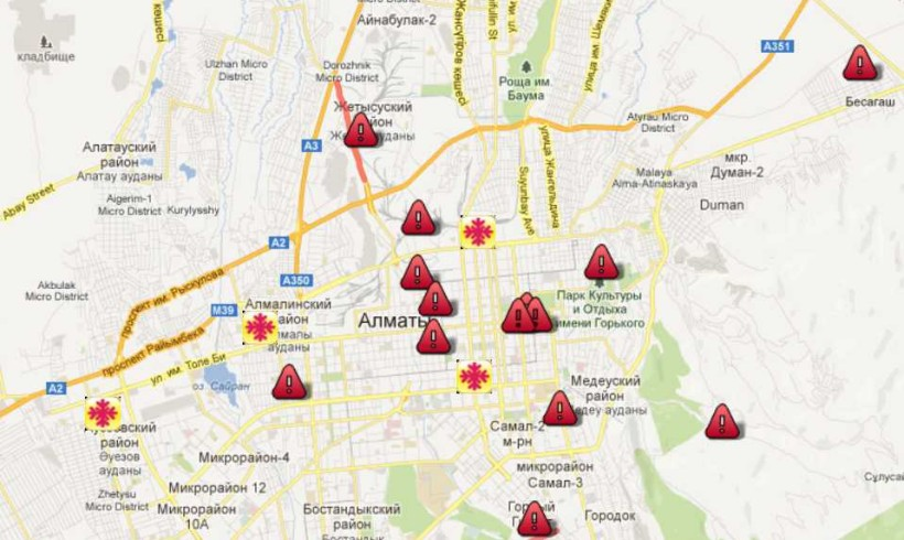 Карта «горячих» экологических точек Алматы и области